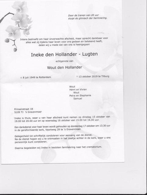 rouwkaart Ineke den Hollander